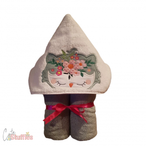 Floral Owl Handmade Embroidered Hooded Towel